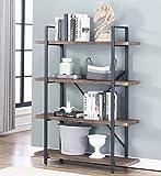 O&K FURNITURE 4-Shelf Vintage Industrial Bookcase, Display Rack Stand Storage Shelving Unit, Gray-Brown