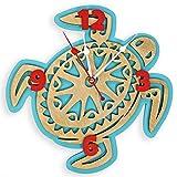 Hawaiian big sea turtle handcrafted wooden wall clock