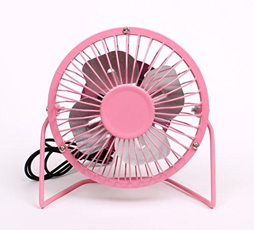 T-Fan Mini USB Table Desk Personal Fan - USB Operated, Durable Metal Body and Blade, Quiet and Not Noisy, High Compatibility ... (Pink) ()
