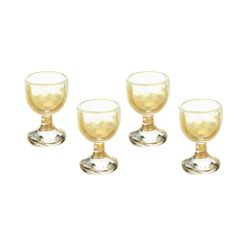 Giocattoli in Miniatura,4pcs Giocattolo per Bambini Gioca casa Bicchieri da Vino Rosso calici Accessori Bambola di Bambole Decor Chiaro Honey MoMo Casa delle Bambole