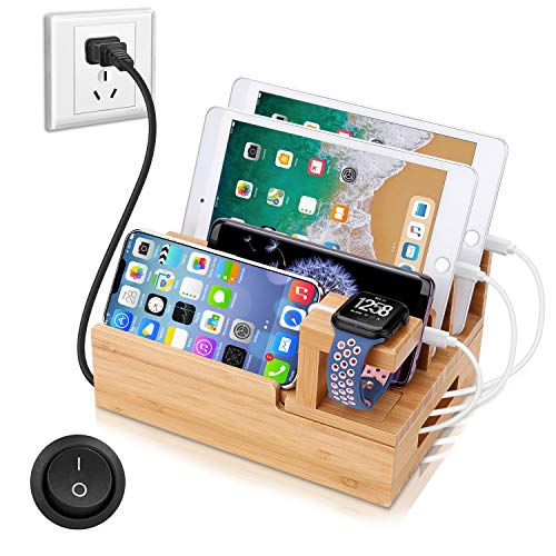 OthoKing Charging Station Organizer,Fast Charging Station for Multiple Device 5-Port USB Bamboo Wood Charging Dock,Universal Apple Watch Phone Pad and Android Like Samsung Cell Phones & Tablets (Apple Iphone Universal Dock)