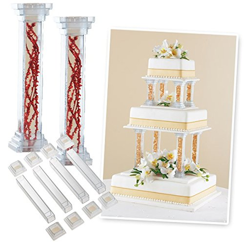 Wilton Enterprises Cake Decorations Fillable Pillars 6 Inch, Includes 4 Pillars and 8 Pedestals