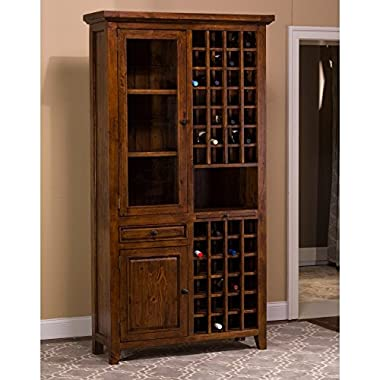 "Hillsdale Furniture 5225-949W Tuscan Retreat 83"" Tall Wine Storage with 52 Bottle Storage 2 Doors 1 Pull Out Tray and Reclaimed Timber Construction in Oxford Antique Pine"