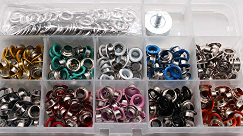 500Pcs 5mm Metal Grommet Kit,Multi-Color Eyelets and Grommet Sets Spray Paint Air Hole Spray Paint Corn Eye Buckle Shoe Eye Buckle and Air Hole Installation Tools for Shoes Clothes Crafts (500)