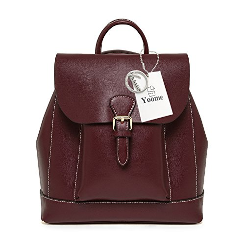 School Women Burgundy Casual Classic Elegant Pure Yoome Purse Leather Backpack Color Bookbag PEAxq0