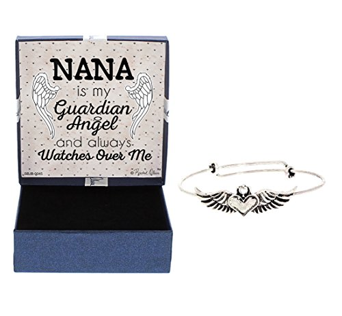 Nana Heart (Memorial Bereavement Gift Loss of Nana Grandma Silver-Tone Angel Wings Adjustable Bangle Watches Over Me Jewelry Gift for Lost Love)