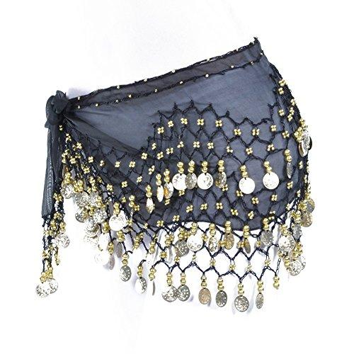 Lilyy Chiffon Dangling Gold Coins Belly Dance Hip Skirt Scarf Wrap Belt (Black)