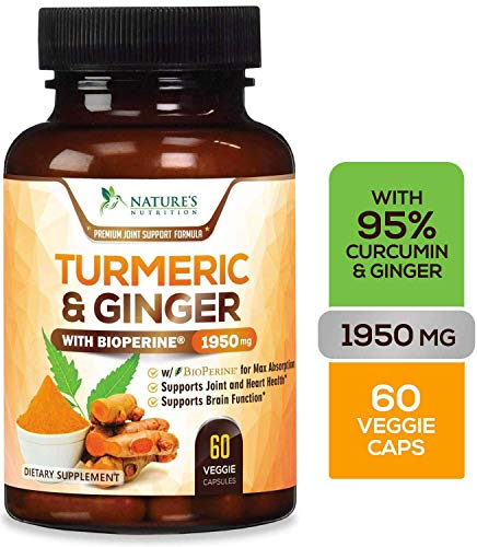 Turmeric Curcumin Highest Potency 95% with Ginger 1950mg with Bioperine Black Pepper for Best Absorption, Made in USA, Best Vegan Joint Pain Relief, Turmeric Pills by Natures Nutrition - 60 Capsules