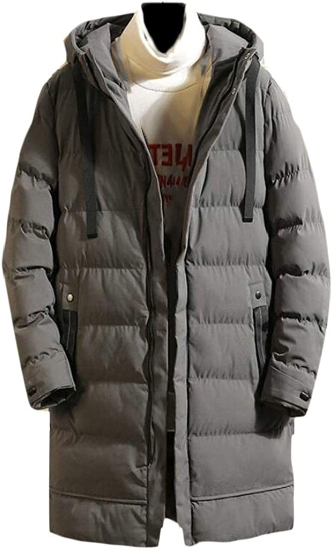 Generic Mens Thick Hooded Mid Long Front Zip Solid Color Quilted Down Jacket Coat