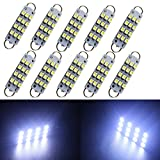 "GrandviewTM 4 X 44mm(1.73"") 12-SMD 1210 3528 Chip Rigid Loop Festoon LED Bulbs for Car Interior Light Dome Map Light Door Courtesy Lights 561 562 567 (White)"