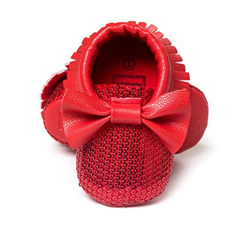 ESHOO bebé niños niñas borla flecos Mocasín Lazo suave suela zapatos de sintética rosa rosa Talla:0-6 meses rosso