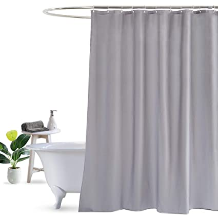 UFRIDAY Extra Long Shower Curtain Gray Grey Waterproof Polyester Bath With Weighted Bottom