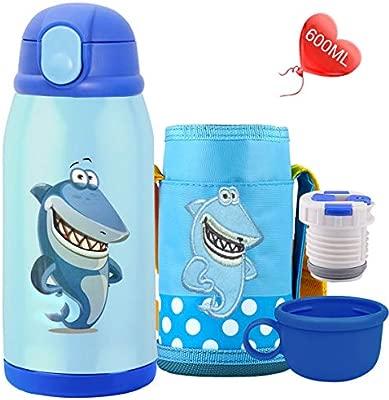 Bioasis Botella Termica Niños Infantil Agua Acero Inoxidable Termo Sin Bpa Taza Viaje, 600ML, Azul