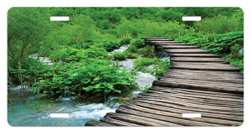 - Ambesonne Forest License Plate, Path and The Waterfall Board in Croatia Cascade Garden Lake Fence Peaceful View, High Gloss Aluminum Novelty Plate, 5.88 L X 11.88 W Inches, Brown Green
