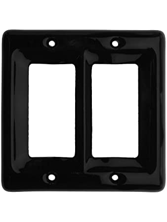 db358cde1e2 Black Porcelain Double Gfi Cover Plate. Ceramic Light Switch Covers.   Amazon.in  Home   Kitchen