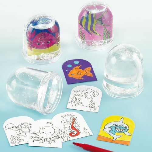 Sealife Colour-in Snow Globe for Children to Decorate and Display (Box of 4) (Ev Globe)