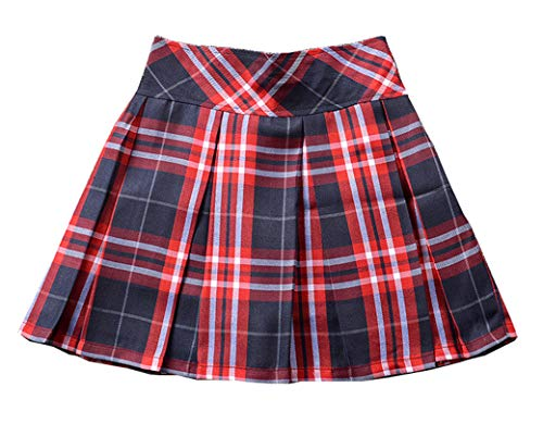 Genetic Los Angeles Girls`s Back to School Uniform Pleated Cosplay Costumes Skirts Navy Blue Wine White L