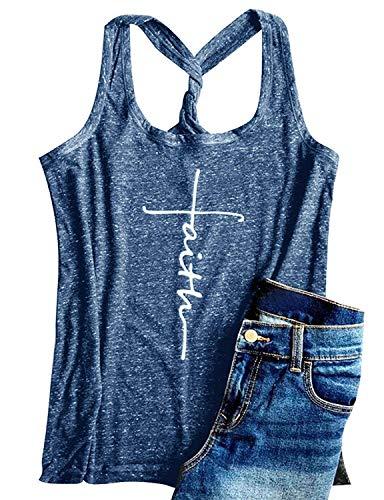 IRISGOD Womens Racerback Tank Tops Summer Workout Graphic Sleeveless Christian T Shirts Blue