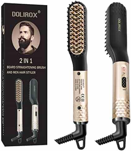 Beard Straightener for men, Multifunctional Hair Styler Electric Hot Comb and Beard Straightening Brush Hair Straightening Comb with Dual Voltage 110-240V Great for Travel & Mens Stocking Stuffers