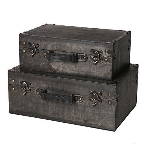Faux Leather Nesting Tables - SLPR Jackson Wooden Trunk with Straps (Set of 2, Grey Wood) | Old-Fashioned Antique Vintage Style Nesting Trunks for Shelf Home Decor Birthday Parties Wedding Decoration Displays Crafts