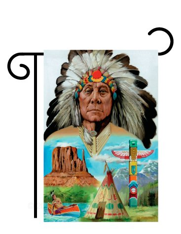 "Breeze Decor - Native American Americana - Everyday Patriotic Impressions Decorative Vertical Garden Flag 13"" x 18.5"" Printed In USA"