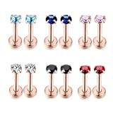 Kokoma 16G 2/3/4mm Cartilage Helix Tragus Nose Lip Stud Earrings CZ Crystal Body Piercing Set of 6 Pairs (3mm Rose Gold)