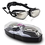 OFTEN HD Anti Fog Swimming Goggles New Design Earbuds 1-Piece Swim Glasses UV Protection No Leaking Plating Swim Goggle with Free Protection Case for Adults Men Women Youth Kids Child (Black)
