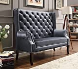 Odina Grey Button Tufted Loveseat Chair by Crown Mark
