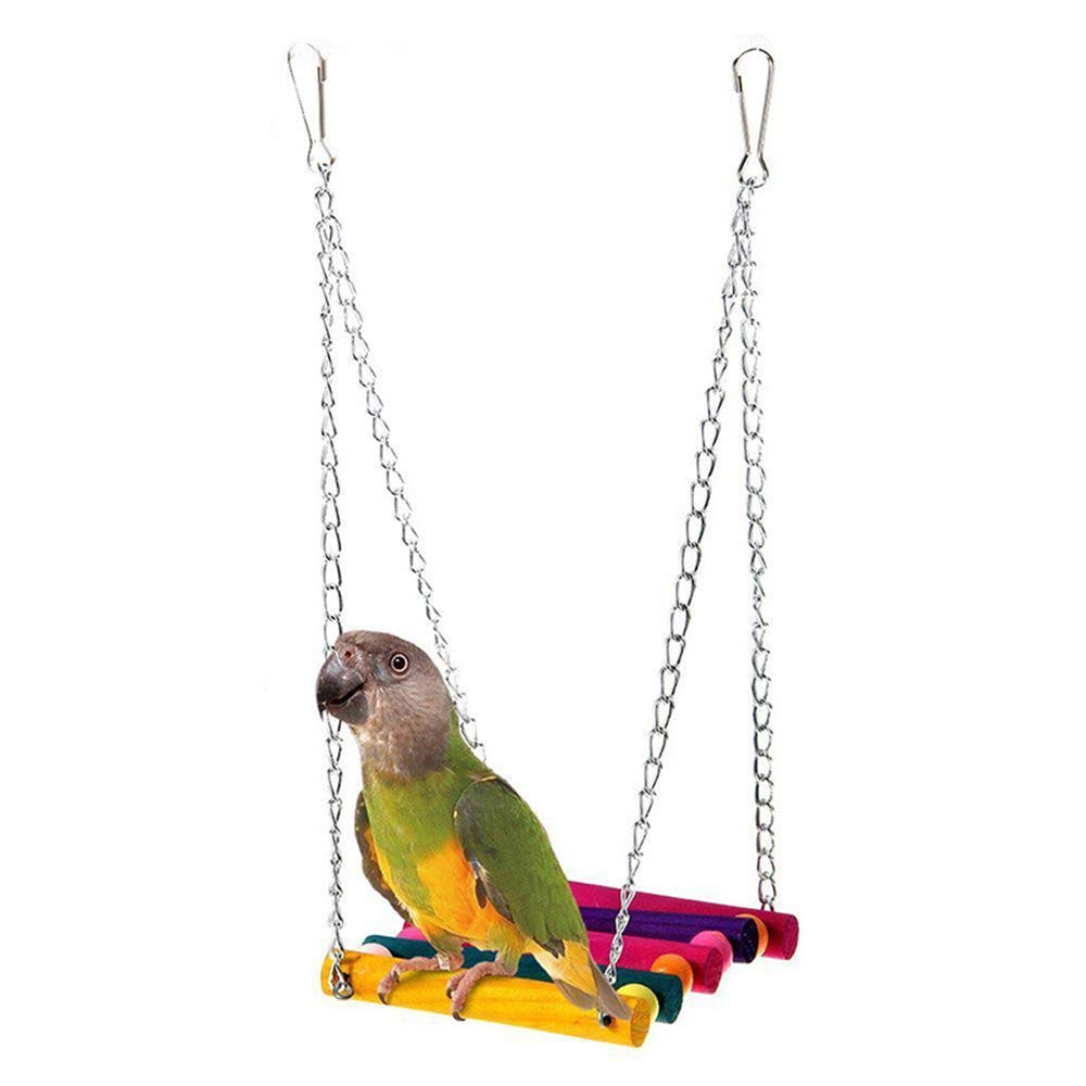 Xeminor 1PCS Durable Parrot Swing Colorful Suspension Bridge Bird Wooden Hanging Hammock Toy for Parakeets Cockatiels Macaws etc