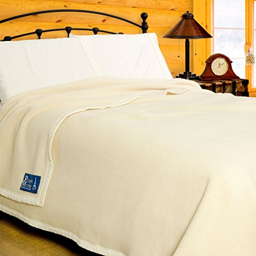 [Poyet Motte Aubisque 500GSM Heavyweight 100-Percent Wool Blanket (Full/Queen, Natural)] (Wool Washable Blanket)