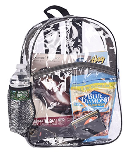 Bags for Less Clear Security Backpack, Black Trim by Bags For (Clear Drawstring Backpack)