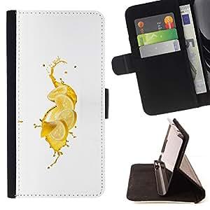 DEVIL CASE - FOR Samsung Galaxy Note 4 IV - Fresh Lemon Splash - Style PU Leather Case Wallet Flip Stand Flap Closure Cover