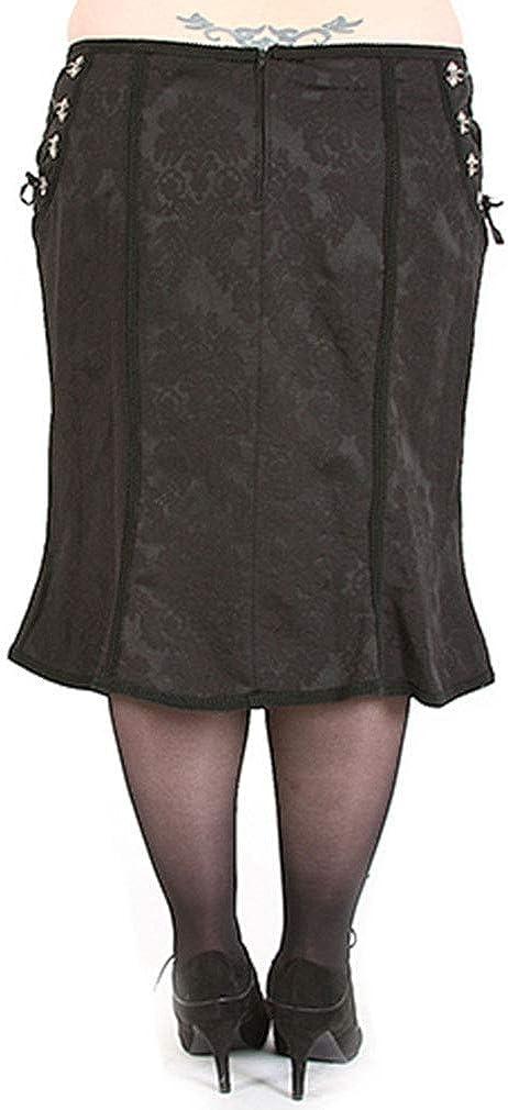 Rubiness Gothic Midi Rock - Noble Skirt Plus-Size Schwarz