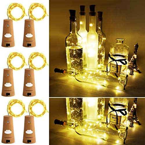 Aokely Wine Bottle Lights with Cork 20 LED Copper Wire String Lights, Pack of 6 Battery Operated Starry String Led Lights for Bottles DIY Christmas Wedding Party Decoration (Warm White)