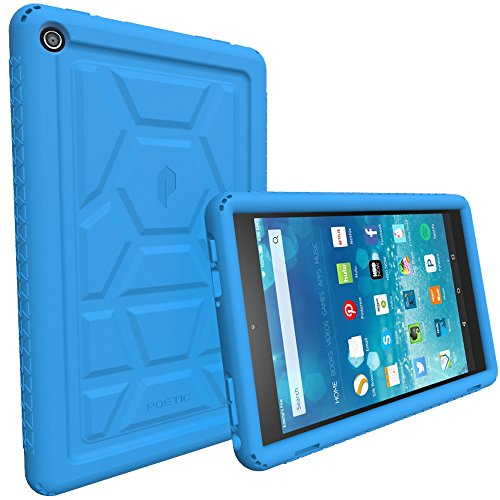 Poetic TurtleSkin Fire HD 8 2016 Rugged Case Cover with Heavy Duty Protection Silicone and Sound-Amplification Feature for Amazon Fire HD 8 (Previous 6th Generation - 2016 Release ONLY) Blue