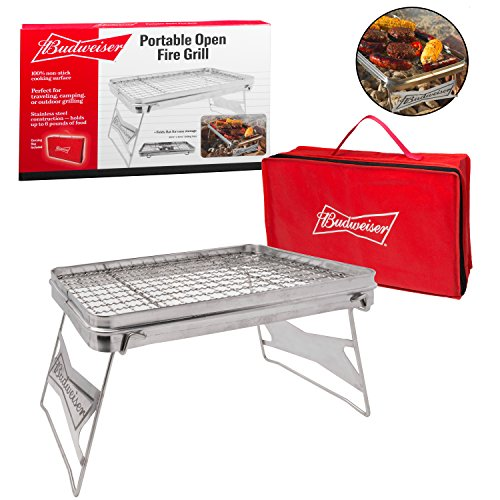 Cheap Camping Grill – Portable Compact Scout Outdoor Grill by Budweiser (16.5″ X 10.5″) – Weighs Just 2.5 Lbs and Includes Budweiser Carrying Bag