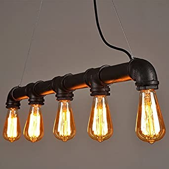 Lightess Suspension Luminaire Vintage Industriel 5 Edisons Style