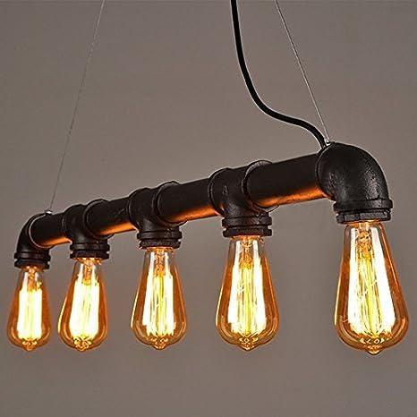 Lightess Lámpara de Tubo Lámpara Industrial Lámpara Vintage Lámpara de Techo Colgante Lámpara 5 Portalámparas, No Incluye Bombillas, Color Negro