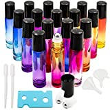 Youngever 18 Pack Rainbow Color Essential Oil Roller Bottles with Stainless Steel Roller Balls in 9 Colors Free Opener 2 Clear Transfer Pipettes 2 Stainless Steel Mini Funnels and Extra Roller Ball
