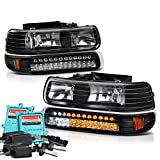04 chevy truck hid headlights - VIPMotoZ 1999-2002 Chevrolet Silverado 1500 2500 3500 Headlights - Built In Xenon HID Low Beam, Matte Black Housing, LED Daytime Running Lamp Strips, Driver and Passenger Side
