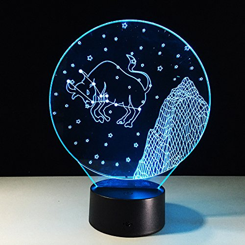 Lynny-R Led 3D Touch Switch Optical Illusion Desk Table Bedside Lamp with 7 Colors Changing Christmas Festival Night Light Gift and Party Favor (#4 Taurus)