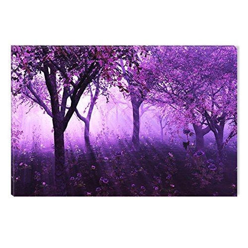 Startonight Canvas Wall Art Purple Forest Light Abstract Fantasy, Dual View Surprise Artwork Modern Framed Ready to Hang Wall Art 100% Original Art Painting 23.62 X 35.43 inch by Startonight