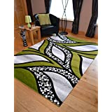 Super Verso Green Modern Hand Carved Dense Rug. Available in 6 sizes (120cm x 170cm) by Rugs Supermarket