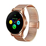 Efanr K88H Bluetooth Smart Watch with Stainless Steel Band, Wrist Watch Smartwatch Pedometer Heart Rate Monitor Round IPS Screen for Android Samsung IOS iPhone X 8 Plus Men Women (Rose Gold)