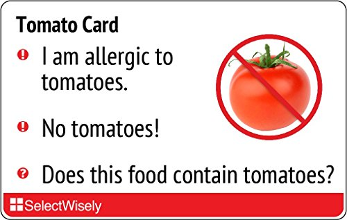 Tomato Allergy Translation Card - Translated in French or any of 6 languages by SelectWisely