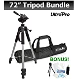 PRO 72-inch TRIPOD For The Canon PowerShot A3300 IS, A3400 IS, A3500 IS, A4000 IS, A800, A810, D10, D20 Digital Cameras. UltraPro BONUS BUNDLE Included: Mini Travel Tripod, LCD Screen Protector, Camera Cleaning Package.