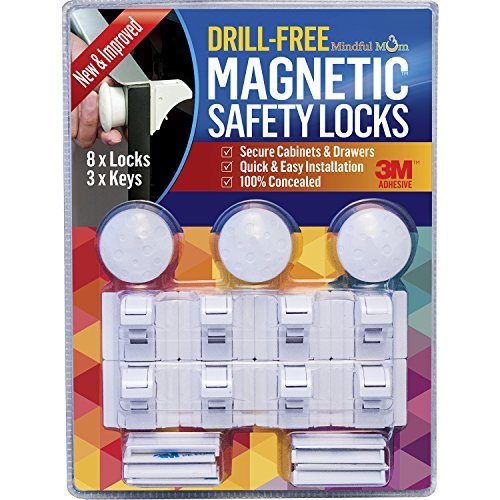 Mindful Mom Drill-Free Magnetic Safety Cabinet and Drawer Locks (3 Keys and 8 Locks)