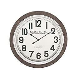 Benzara Antique Colonial Astonishing Wood Wall Clock, 31 Diameter, Black and White Finish