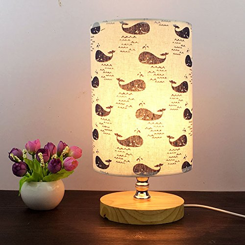 VGAzer Bedside Table Lamp Nightstand Lamp with Wooden base and Cute Cartoon Pattern Fabric Shade for Kids Room, Bedroom, Living Room, Dresser, College Dorm, Coffee Table, Bookcase(Whales)