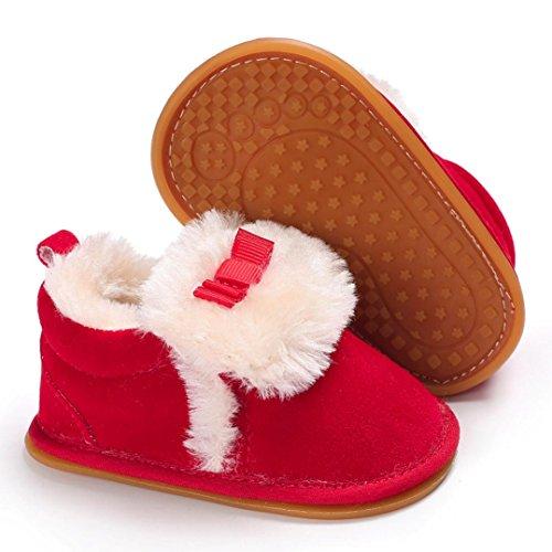 Clode® Kleinkind Bogen Baby Jungen Mädchen Plüsch Mokassins Soft Sole Anti-Rutsch Warm Samt Schnee Rot